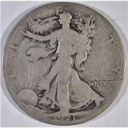 1921-D WALKING LIBERTY HALF DOLLAR, CHOICE G/VG