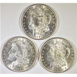 (3) 1921 MORGAN DOLLARS CH BU