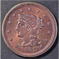1855 LARGE CENT  GEM BU