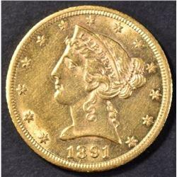 1891-CC $5 GOLD LIBERTY CH BU