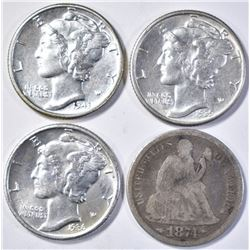 LOT OF 4 DIMES:  1874 SEATED LIBERTY DIME  VG/F,