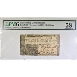 1763 12 SHILLINGS NJ COLONIAL NOTE PMG 58