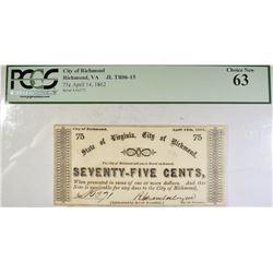 1862 75 CENTS CITY OF RICHMOND  PCGS 63