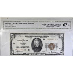 1929 $20 FEDERAL RESERVE BANK NOTE CGA GEM UNC OPQ