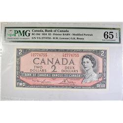 1954 A $2 CANADA  PMG 65 EPQ GEM UNC.