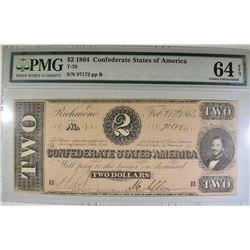 1864 $2 CSA  PMG 64 EPQ CHOICE UNC.