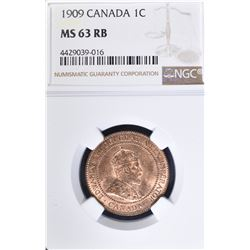 1909 ONE CENT CANADA  NGC MS-63 RB