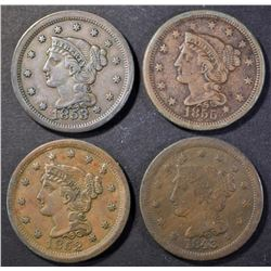 1843 VF, 1852, 1853 & 1855 XF LARGE CENTS