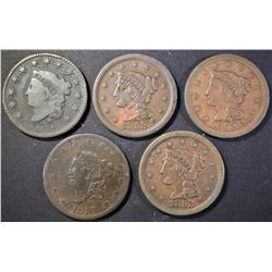1817 F, 1831 F, 1852 VF & (2) 1853 VF LARGE CENTS
