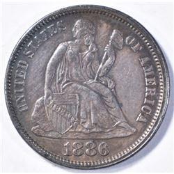 1886 SEATED DIME AU/BU
