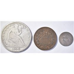 LOT OF 3 COINS: 1852 3 CENT SILVER F, 1858-O