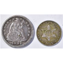 LOT OF 2 COINS: 1853 3 CENT SILVER F/VF & 1847