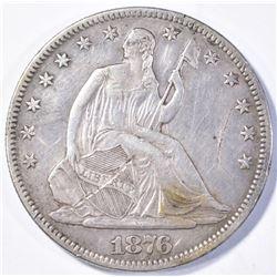 1876 SEATED HALF DOLLAR XF