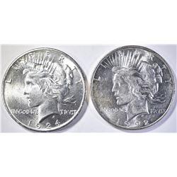1922-D & 1924 GEM PEACE DOLLARS