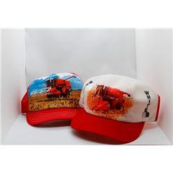 2 White baseball caps
