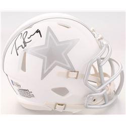 329309830d4 Tony Romo Signed Cowboys White ICE Speed Mini Helmet (Beckett COA)