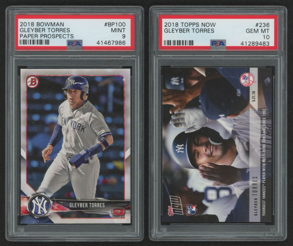 Lot Of 2 Psa Graded Gleyber Torres Baseball Cards With 2018
