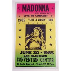 Madonna 1985 Like a Virgin Tour Poster