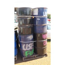 Qty 8 Empty 55-Gallon Metal Drums