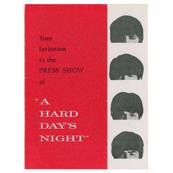 Beatles A Hard Day's Night Press Show Invitation