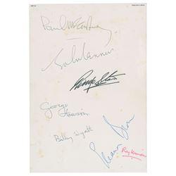 Beatles Signed Airplane Menu