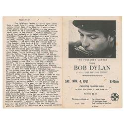 Bob Dylan 1961 Carnegie Chapter Hall Program