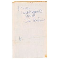 Jimi Hendrix Signed 1967 Handbill From His First Tour