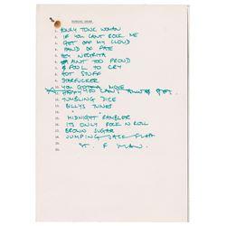 Mick Jagger Handwritten Set List