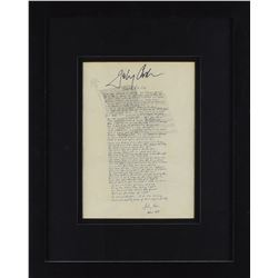 Johnny Cash Signed 'Ragged Old Flag' Lyrics Print