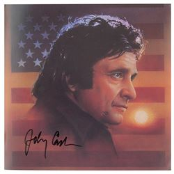 Johnny Cash Signed Flag Photo