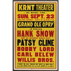 Patsy Cline 1962 KRNT Des Moines Grand Ole Opry Poster