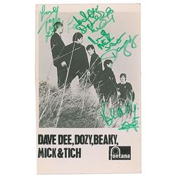 Dave Dee, Dozy, Beaky, Mick & Tich Signed Promotional Card