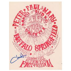 Chris Hillman Signed 1967 Doors and Byrds Handbill