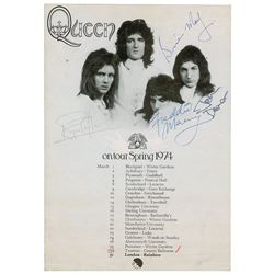 Queen Signed 1974 First Headline Tour Handbill