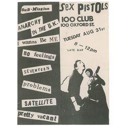 The Sex Pistols 100 Club Handbill