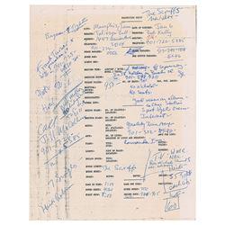 The Sex Pistols 1978 Concert Production Sheet