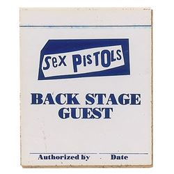 The Sex Pistols 1978 Unused Backstage Pass