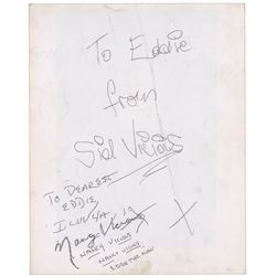 The Sex Pistols: Sid Vicious Signed Photograph