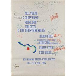 Neil Young, Tom Petty, and Pearl Jam Signed Bridge School Benefit Pelon