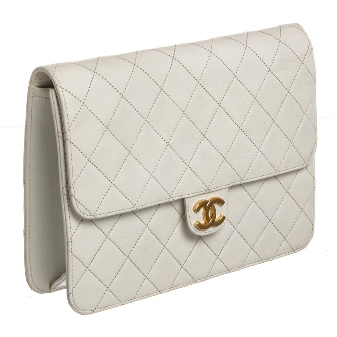 d85206bc85284b Image 1 : Chanel Vintage White Quilted Lambskin Leather Single Flap  Shoulder Bag ...