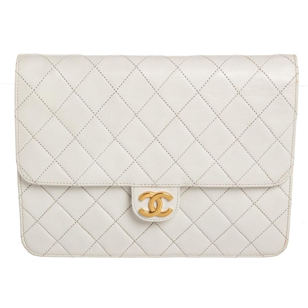 8af672ccdb0260 ... Image 2 : Chanel Vintage White Quilted Lambskin Leather Single Flap  Shoulder Bag ...