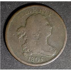 1805 SMALL 5 NO STEMS HALF CENT, VG