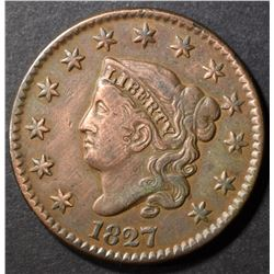 1827 LARGE CENT, XF BETTER DATE