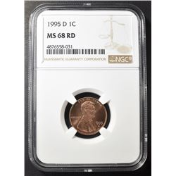 1995-D LINCOLN CENT, NGC MS-68 RED