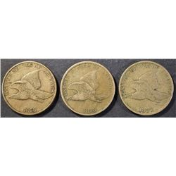 LOT OF 3 FLYING EAGLE  CENTS: (2) 1858