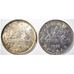 (2) CANADIAN SILVER DOLLARS: 1935, 36