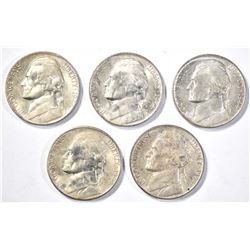 5-BU 1944-D SILVER JEFFERSON NICKELS