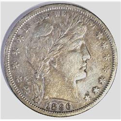 1896-S BARBER HALF DOLLAR, VF+ KEY COIN