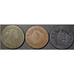 1800 G CORR., 1817 VF MARKS, 1818 AG LARGE CENTS