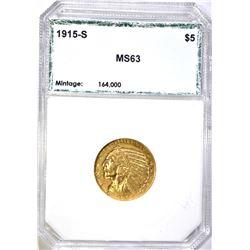 1915-S $5.00 INDIAN GOLD, PCI CH BU RARE!!
